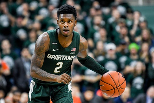Michigan State's Rocket Watts moves with the ball during the second half on Thursday, Jan. 2, 2020, at the Breslin Center in East Lansing.