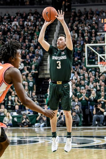 Michigan State's Foster Loyer makes a 3-pointer during the first half on Thursday, Jan. 2, 2020, at the Breslin Center in East Lansing.