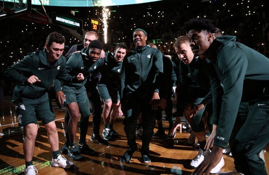 Jan 2, 2020; East Lansing, Michigan, USA; Michigan State Spartans guard Cassius Winston (5) is introduced prior to a game against the Illinois Fighting Illini at the Breslin Center. Mandatory Credit: Mike Carter-USA TODAY Sports
