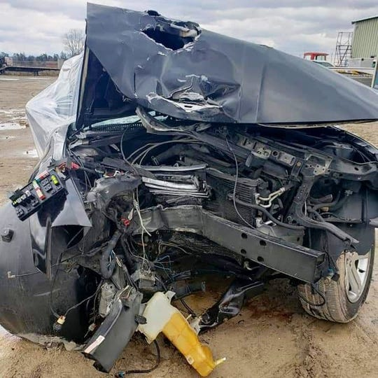 This is the vehicle that Shannel Malcom was driving on Monday, Nov. 25, 2019, when she suffered a medical episode and crashed into a pole on Mount Vernon Avenue.