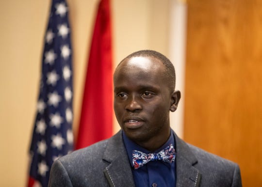 John Liom, who left Sudan as a refugee at age 12, speaks in Downtown Memphis on Jan. 3, 2020.