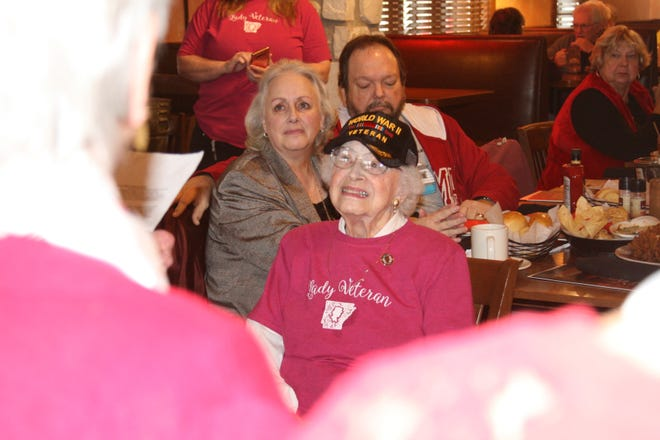 World War II veteran Edith Mitchell (wearing hat) celebrated her 98th birthday last week with members of the North Central Arkansas Military Service Sisters and received a quilt from the Mountain Home Quilts of Valor. Mitchell was a member of the Women's Army Corp from 1943-46 as a chaplain's assistant during World War II. Seated behind her is her daughter and son-in-law, Carol and Frank Miller of Gainesville, Mo.