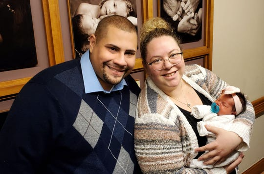 Baby Amelia Rae was born at 3:49 a.m. on New Year's Day to become the first unofficial baby born in Morris County in 2020, at Saint Clare's Hospital in Denville, to parents Dijana Kociski and Johnnie Garcia of Parsippany.