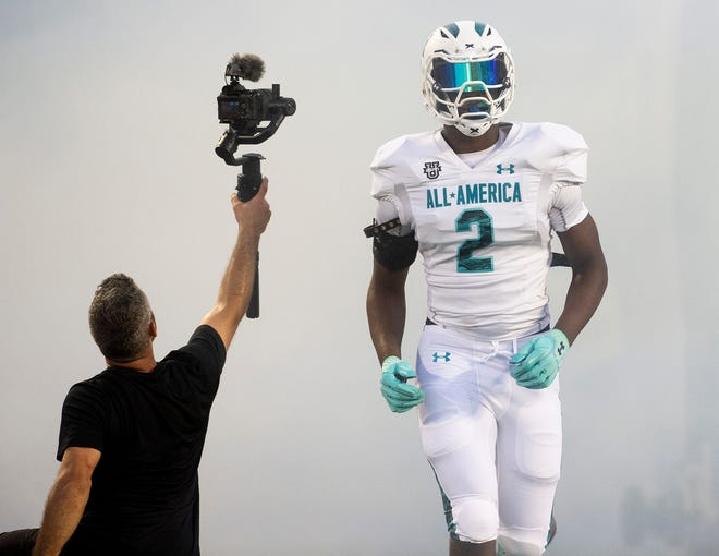 Team Savage defensive end Chris Braswell, committed to Alabama, (2) is introduced at the Under Armor All-America Game in Orlando, Fla., on Thursday January 2, 2020.