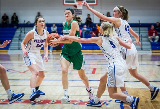 Jay County faces off against Yorktown during their game at Jay County High School Thursday, Jan. 2, 2020.