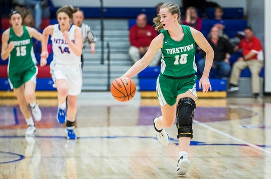 Yorktown's Carley Culberson dribbles down the court during a game at Jay County High School Thursday, Jan. 2, 2020.