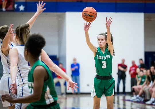 Yorktown's Elizabeth Reece shoots during a game at Jay County High School Thursday, Jan. 2, 2020. Reece finished with a season-high 26 points.