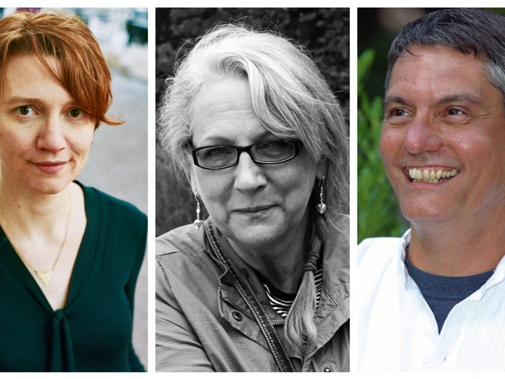 Murfreesboro Cultural Arts has named its artist laureates for 2020. Pictured, from left, are poet Amie Whittemore, painter Dawna Kinne Magliacano and photographer Tommy Womack.