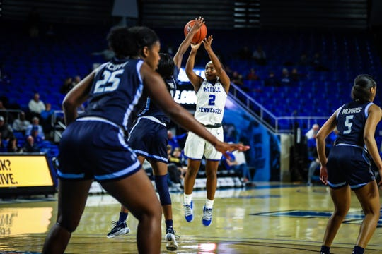 MTSU's Taylor Sutton shoots a 3 against Old Dominion on January 2, 2020.
