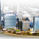 An architectural rendering of the Nashville Yards development. A row of skyscrapers front a park along the railroad tracks bordering the Gulch.