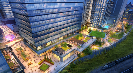 An architectural rendering looking down on the park and pedestrian plaza designed to front Nashville Yards.