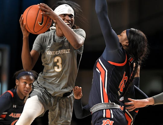 Vanderbilt guard Jordyn Cambridge (3) shoots against Auburn forward Kiyae' White (10) during a game at Memorial Gym in Nashville on Thursday, Jan. 2, 2020.