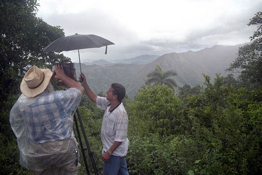Clyde Butcher at work for his photographs of Cuba's mountains in 2002.
