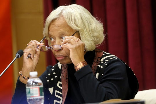 Jersey City Board of Education Trustee, Joan Terrell-Paige, is shown just before the meeting Thursday,  January 2, 2020.
