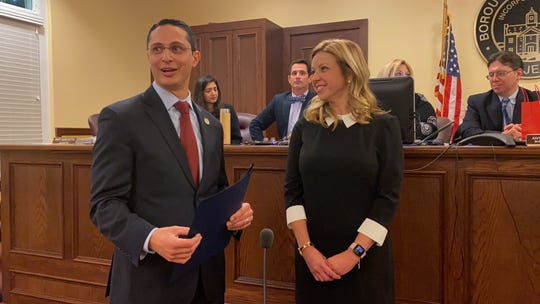 State Sen. Joseph Lagana and Glen Rock Mayor Kristine Morieko address constituents Thursday, Jan. 2.