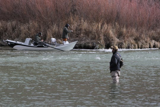 Anglers fish in the San Juan River quality waters, Friday, Jan. 3, 2020, at Texas Hole at Navajo Lake State Park.