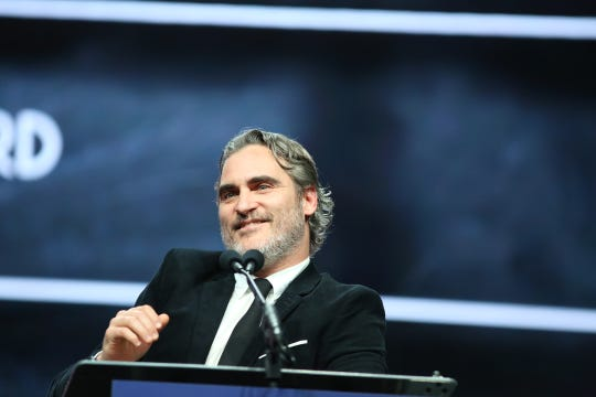 Joaquin Phoenix receives the Chairman's Award during the Film Awards Gala of the 31st annual Palm Springs International Film Festival in Palm Springs, Calif., on January 2, 2020.