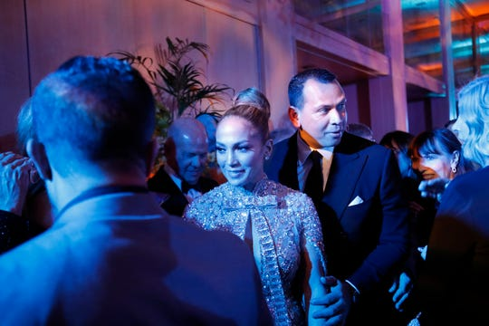 Jennifer Lopez and Alex Rodriguez at the Palm Springs International Film Festival gala after party at the Parker Palm Springs, Jan. 2, 2020