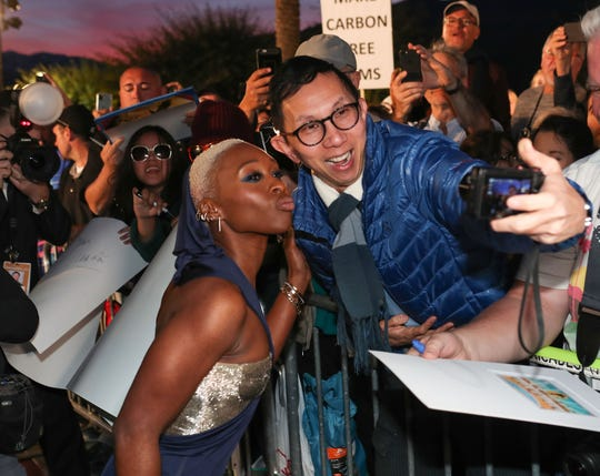 Cynthia Erivo interacts with fans at the Palm Springs International Film Festival Awards Gala at the Palm Springs Convention Center, January 2, 2020.