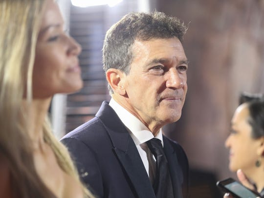 Antonio Banderas talks with the press at the Palm Springs International Film Festival Awards Gala at the Palm Springs Convention Center, January 2, 2020.