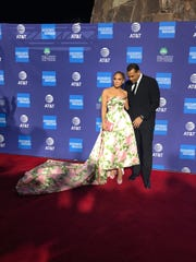 Actress Jennifer Lopez and fiancé Alex Rodriguez arrive on the red carpet at the Palm Springs International Film Festival in Palm Springs, Calif., Jan. 2, 2020.