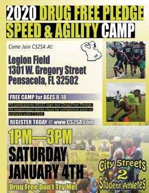 City Streets 2 Student Athletes hosts the 2020 Drug Free Pledge Speed & Agility Camp on Jan. 4 at Legion Field.