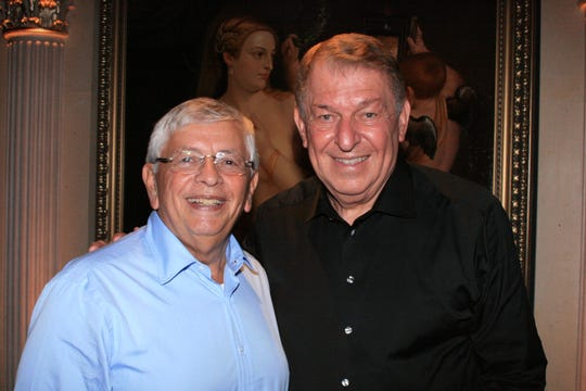 David Stern (left) with Jerry Colangelo in London after Team USA won Olympic Gold in 2012.
