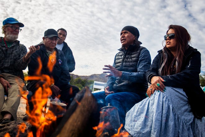 Former San Carlos Apache Tribe Chairman Wendsler Nosie Sr. speaks to activists at a gathering in opposition to Resolution Copper's proposed mining project at Oak Flat near Superior on Dec. 14, 2019.