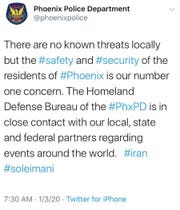 Phoenix police published and subsequently deleted the tweet on Friday, Jan. 3, 2020.