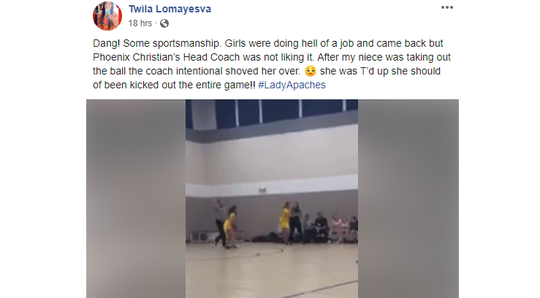 The Arizona Interscholastic Association confirmed it is awareof an incident involving a Phoenix Christian Preparatory School coach shoving a player from Fort Thomas High School during a Thursday evening girls basketball game.