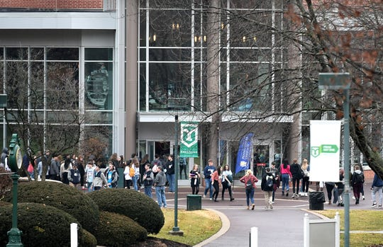 Students walk on the York College campus Friday, Jan. 3, 2020. Enrollment decline has been a reality for colleges and universitiesÊacross the nation, including those in York County. Bill Kalina photo