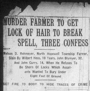 "The York Dispatch reported on the now-famous ""Hex Murder"" of Nelson D. Rehmeyer in the Nov. 30, 1928, edition of the newspaper."