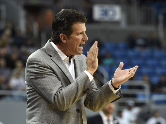 Nevada's head coach Steve Alford cheers his team on against Arlington in the second half on Nov. 12, 2019.