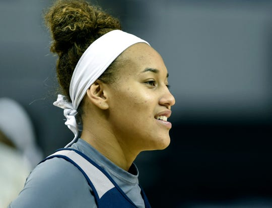Nevada's Imani Lacy looks on as teammate perform drills during media day at Lawlor Events Center on Thursday Oct. 31, 2019.