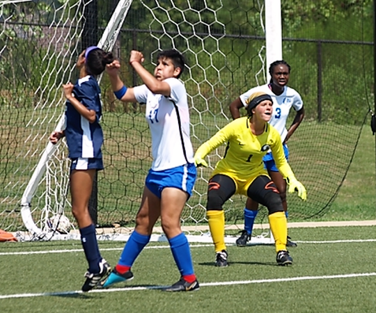 Former San Angelo Central High School goalkeeper Megan White (second from right) is coming off a record-breaking freshman season at Faulkner University in Alabama.