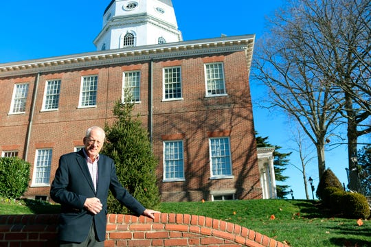 In this Thursday, Dec. 19, 2019 photo, William Kirwan, who led Maryland's Commission on Innovation and Excellence in Education, stands outside the Maryland State House in Annapolis. State lawmakers will be considering recommendations the panel has made to improve state schools.