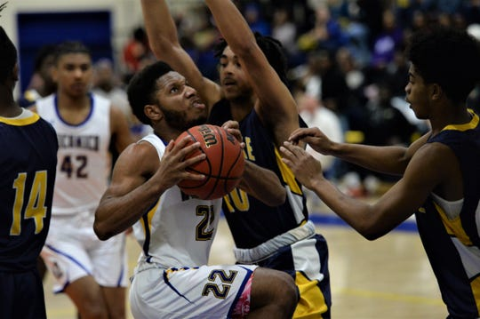 Wicomico guard Ronnie Satchell goes for a layup on Thursday, Jan. 2, 2020.