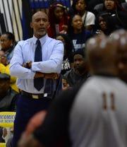 Pocomoke head coach Derrick Fooks looks at the officials on Thursday, Jan. 2, 2020.