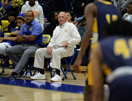 Wicomico head coach Butch Waller watches his team from the sidelines on Thursday, Jan. 2, 2020.