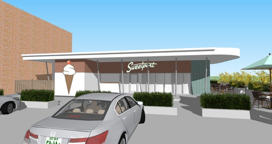 A design rendering of Sweetport ice cream parlor, opening March 2020 in Shreveport.