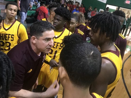 Natchitoches Central coach Micah Coleman exhorts his team during the 2019 Bossier High Invitational.