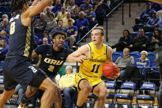 Noah Freidel had 23 points in SDSU's 96-79 win over Oral Roberts Thursday in Brookings