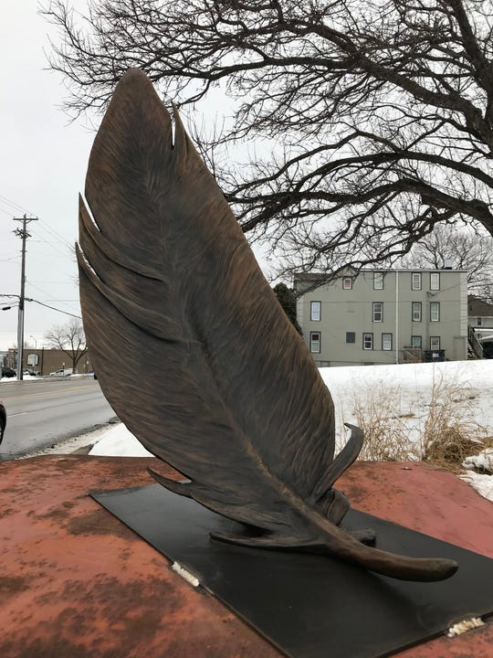 The All Saints Neighborhood Association commissioned Sioux Falls artist Cameron Stalheim to create a sculpture that now stands at Lyons Park near 14th Street and Phillips Avenue.