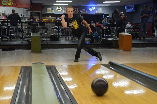 Eli Griebel of the Dell Rapids club bowling team practices at Pinz in Dell Rapids on Thursday, Jan. 2.