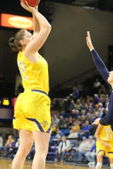 Megan Bultsma goes up for a shot Thursday night in SDSU's win over Oral Roberts