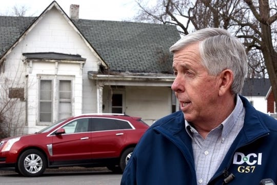 """Gov. Mike Parson on Thursday visited Moberly to discuss infrastructure issues. While there, he defended his decision to continue allowing refugees to settle in the state, calling them """"vital members of our communities."""""""