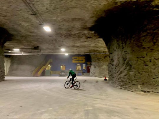 Joe West of TrailSpring tests the bike-race course at Springfield Underground, the limestone mine on Springfield's east side.