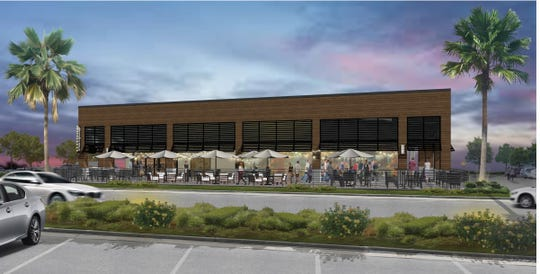 The latest rendering of the Market Square redevelopment shows patio seating at an endcap restaurant.