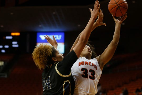 UTEP's Michelle Pruitt takes a shot against FIU during the game in the Conference USA opener Thursday, Jan. 2, at the Don Haskins center in El Paso.