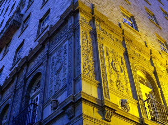 A photograph of the Cortez Building Downtown illuminated, by photographer Mark Paulda.